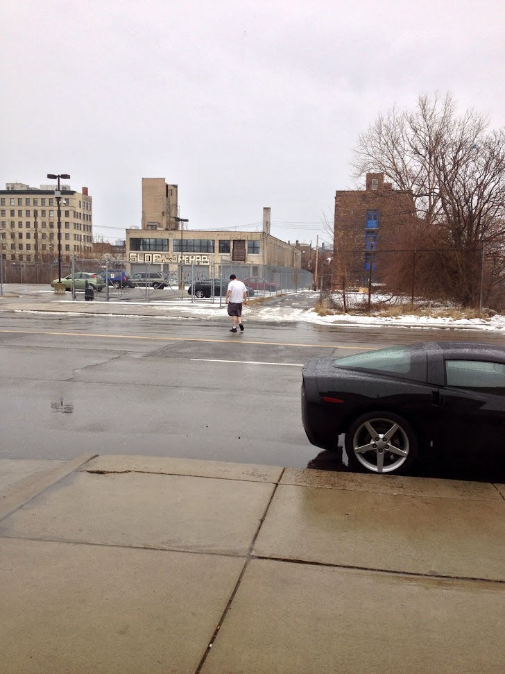 detroit, nice car, corvette, sports car, dude in shorts, dude in black shorts, white people, black corvette, black sports car, white people are crazy