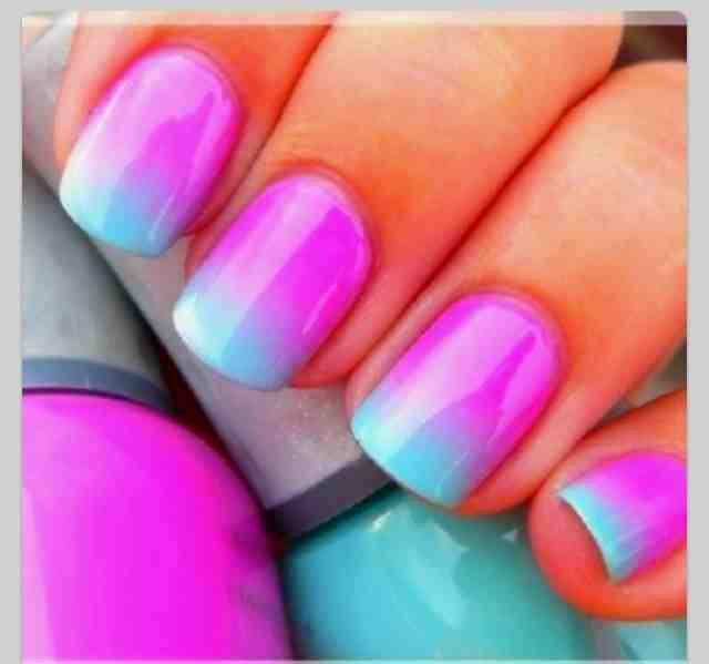 I love the purple with blue ! - Tween Styles: How To Do Tie-dye Nail Art