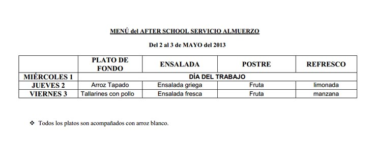 COMUNICADO: SERVICIO DE AFTER SCHOOL PARA EL MES DE MAYO