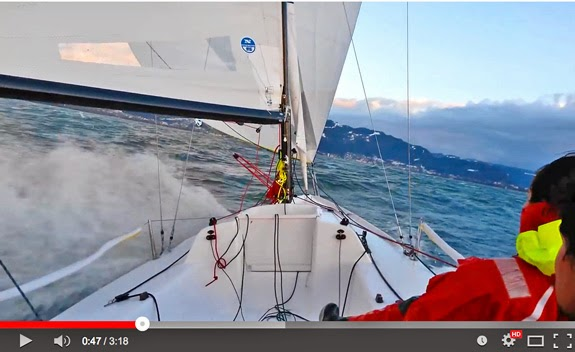 J/70 sailing 20 kts across Bodensee, Germany