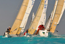 J/80 one-design sailboats- sailing upwind at Key West