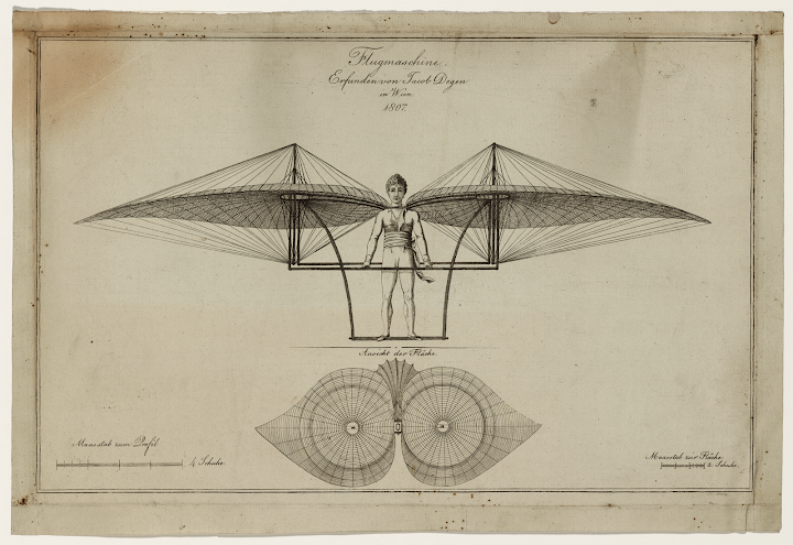 Technical illustration shows elevation and horizontal section of a man-powered flying machine constructed and tested unsuccessfully by Swiss watchmaker Jakob Degen
