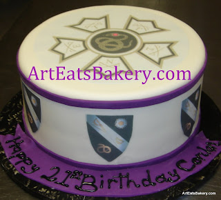 Custom Furman University and sigma nu purple and white fondant birthday cake
