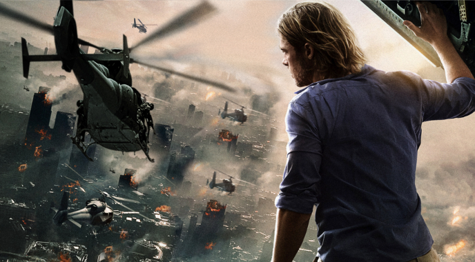 image of brad pitt looking out of a helicopter in world war z