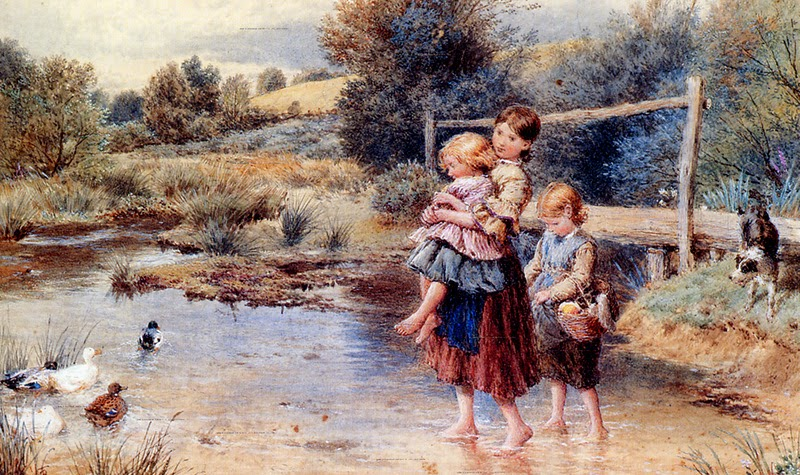 Myles Birket Foster - Children Paddling in a Stream