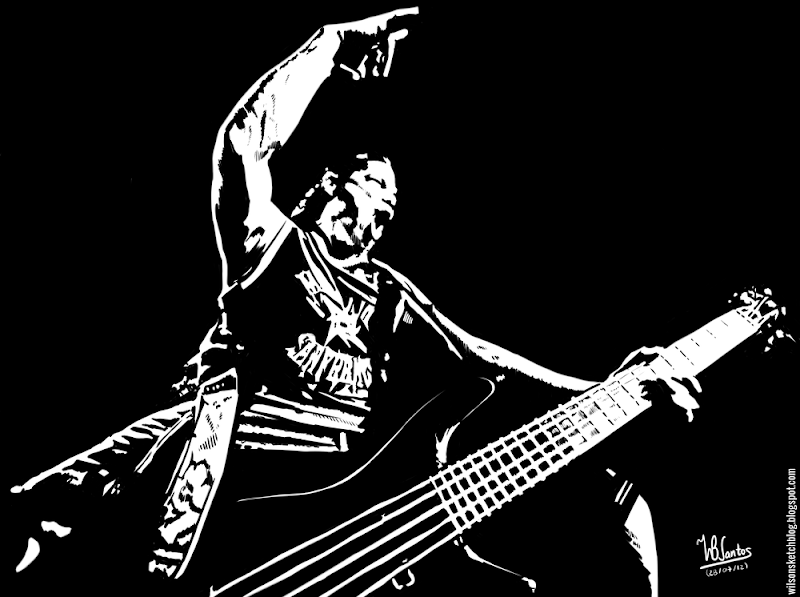 Ink drawing of Robert Trujillo (Metallica), using Krita 2.4.