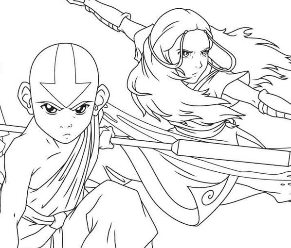 Colorea a Aang y sus amigos