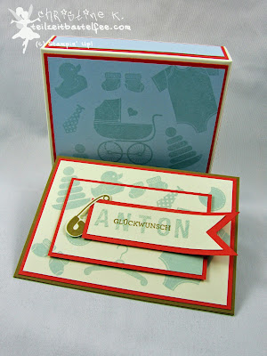 Stampin' Up! - In{k}spire_me #188, Something for Baby, Geburt Junge, Baby Boy, Sketch Alphabet, Banner, Color Challenge, Envelope Punch Board