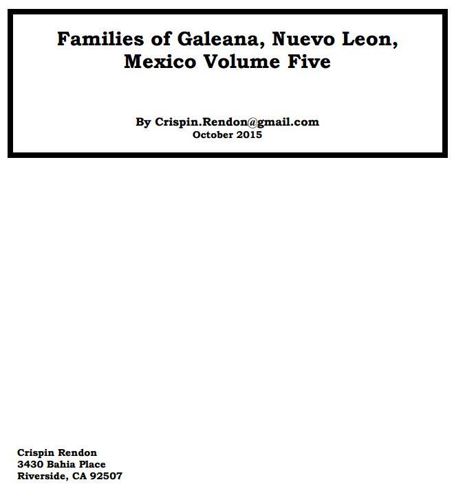 Families of Galeana, Nuevo Leon, Mexico Volume Five