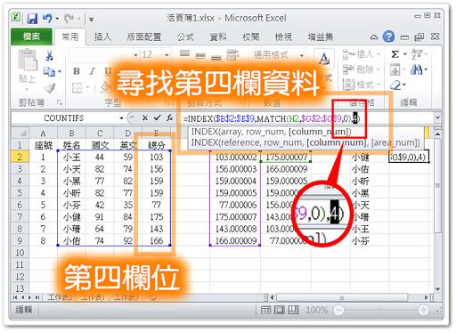 利用 Index() 及 Match() 查詢原始資料的特定欄位