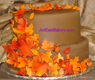 Custom unique  two tier chocolate brown fondant wedding cake with sugar fall leaves design