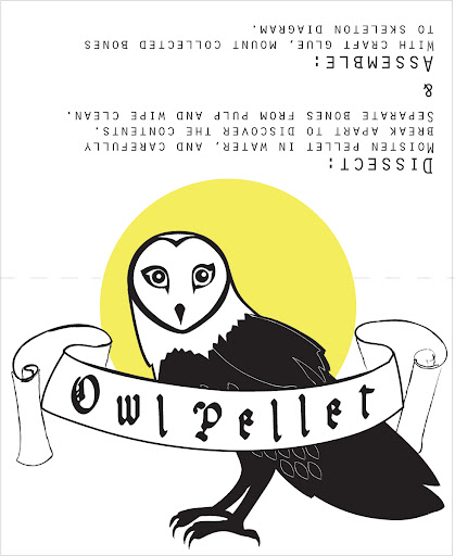 template: fold-over owl pellet label Print label, cut top half of moon to dotted line, and fold on dotted line to create a