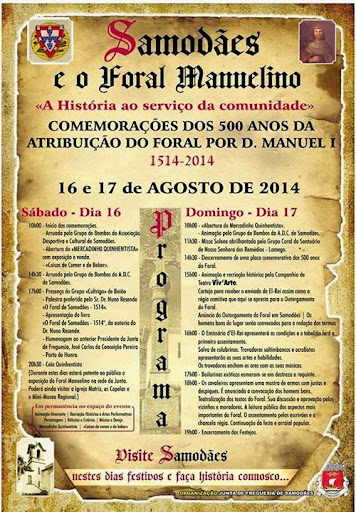 Comemorações dos 500 anos do foral Manuelino da freguesia de Samodães – Programa