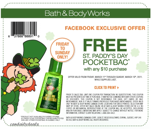 Canadian Daily Deals: Bath and Body Works Canada: Free St Paddy's