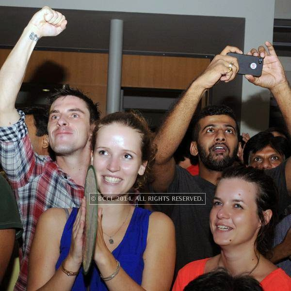Guests during the 2014 FIFA World Cup final screening, held at Germany embassy, in New Delhi, on July 13, 2014.