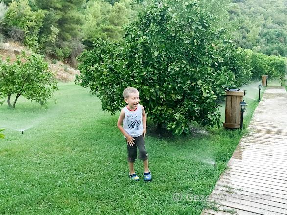 bahçe sulanırken fiskiyelerde eğlenen oğlum, Çıralı Antalya