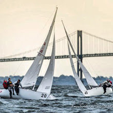 J/22s crossing tacks upwind in front of Newport Bridge