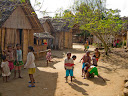 Some kids playing soccer in another part of the village.