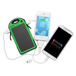 LevinTM Solstar  Solar Panel Portable Charger/Power Bank Rain-resistant and Dirt/Shockproof - 6000mAh - image