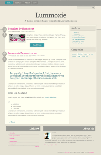 The Updated Lummoxie Blogger Template