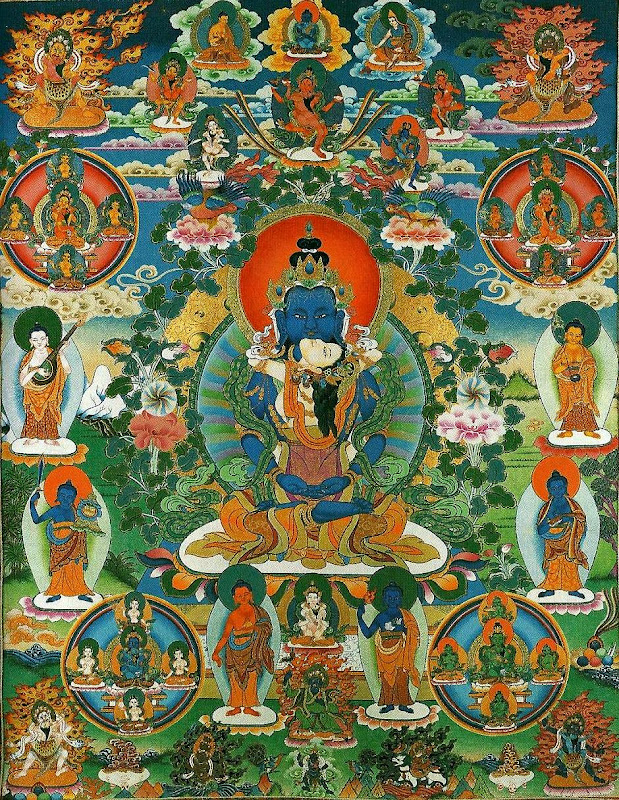 Assembly of the forty-two peaceful deities. Thangkas painted by Shawu Tsering and photographed by Jill Morley Smith are in the private collection of Gyurme Dorje.