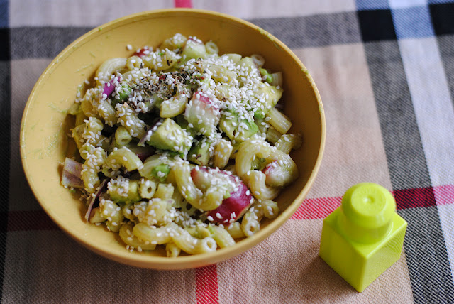 warm pasta with avocado salad recipe by ServicefromHeart