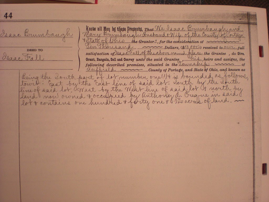 Isaac Brumbaugh Deed to Issac FallPage 44141 1/2 Acres