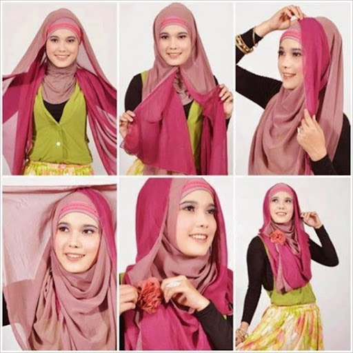 Fashionable hijab with flower