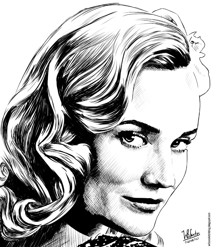 Ink drawing of Diane Kruger (Inglorious Basterds), using Krita 2.4.