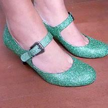 Sapatos de tira com glitter verde