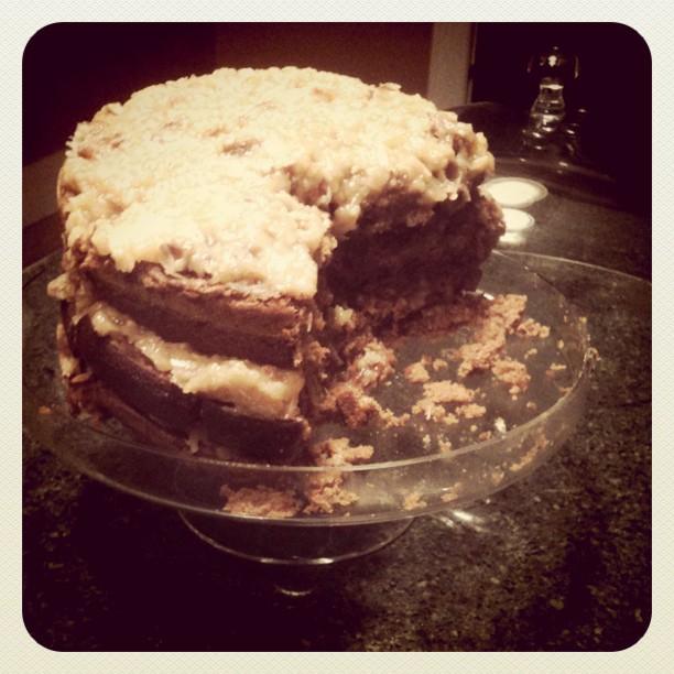 3-layer German chocolate cake