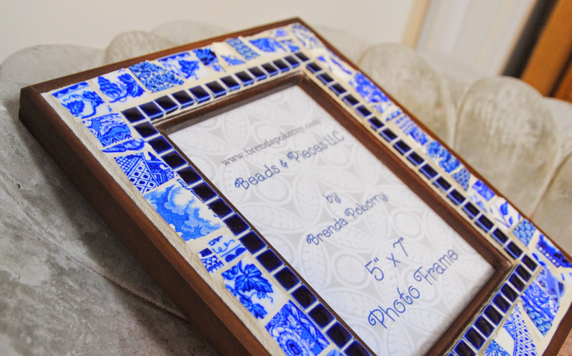Blue & White Porcelain Mosaic Photo Frame MOF1417