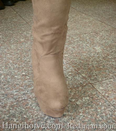Boots cao cổ quá đầu gối, da lộn, gót nhọn, màu be 3 - Chỉ với 1.090.000đ