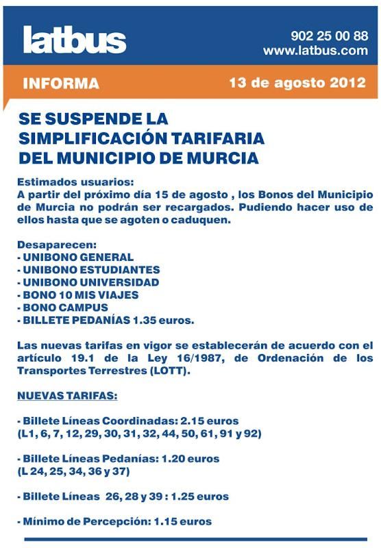 Tarifazo LATBUS - Murcia