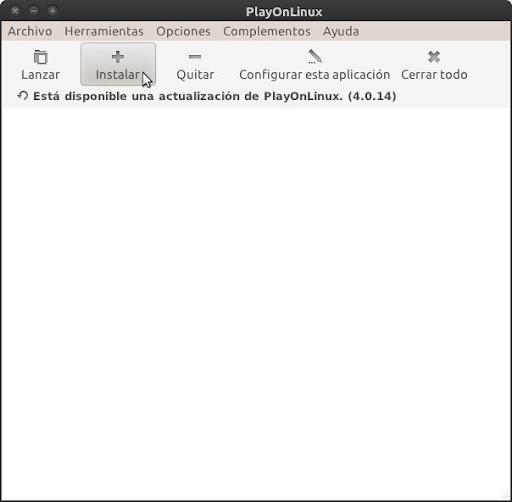 Ventana principal de PlayOnLinux