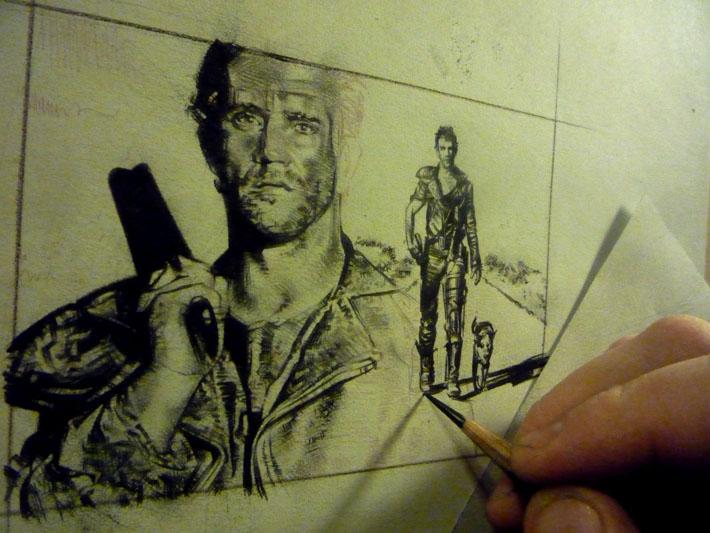 Mad Max, Mel Gibson, Original Sketch Card © 2013 Jeff Lafferty