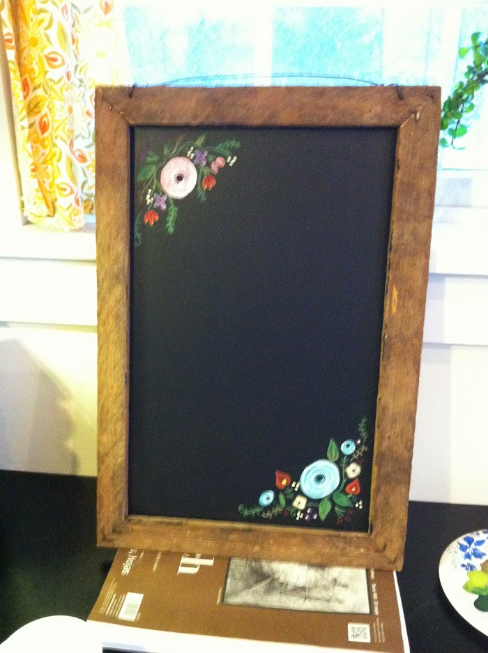 Flowers painted on antique chalkboard