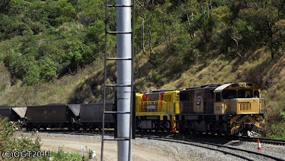 QRN 2300's with loaded coal train on the Toowoomba Range