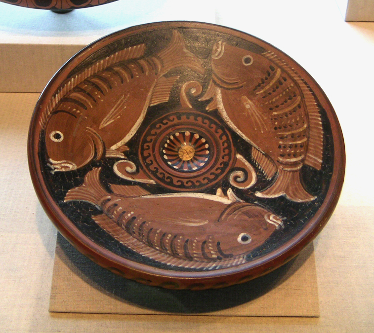 Painted Ancient Greek Fish on a Ceramic Bowl