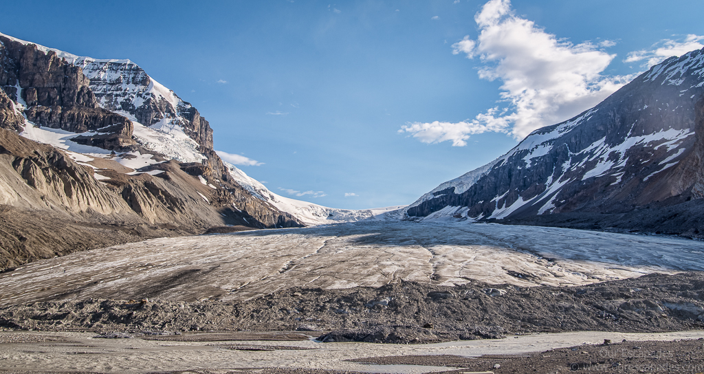 Here's the toe of the Athabasca Glaciers, which have retreated over the years