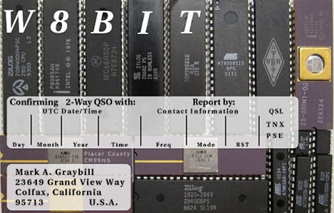 QSL card for W8BIT, lots of 8-bit processors in the background, and one video chip that I mistook for a 6502 processor.