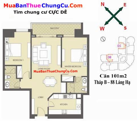 Thiết kế căn hộ 101m2 Chung cư 88 Láng Hạ tháp B