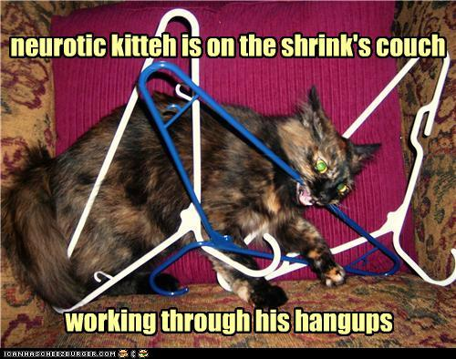 photo of a cat tangled up in hangers