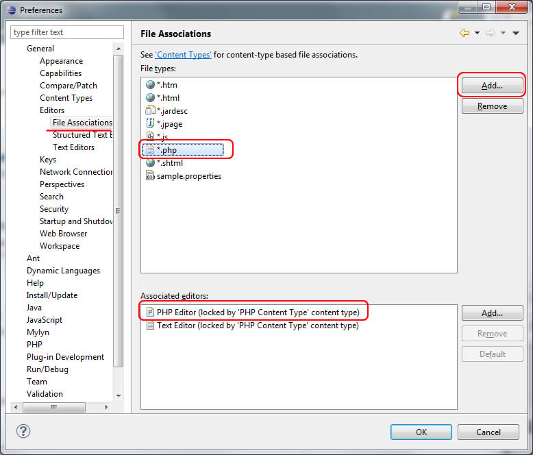 configurando PDT 3 Eclipse 3.7.1 editor PHP