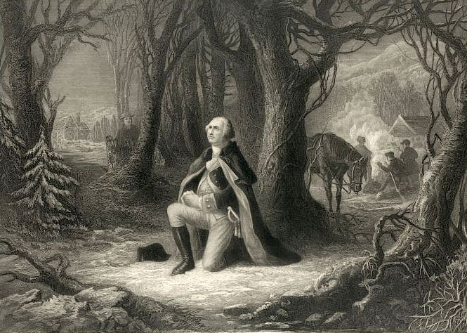 General George Washington prays for his troops and nation at Valley Forge.