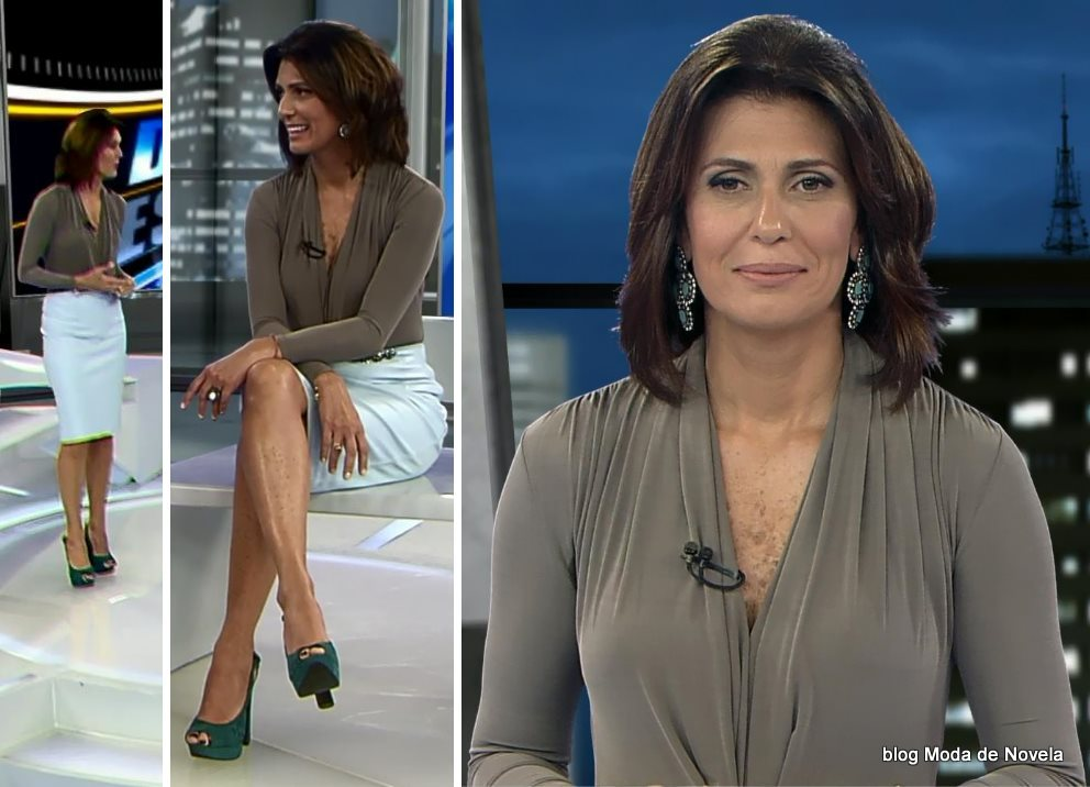 moda do programa Domingo Espetacular - look da Janine Borba dia 22 de junho