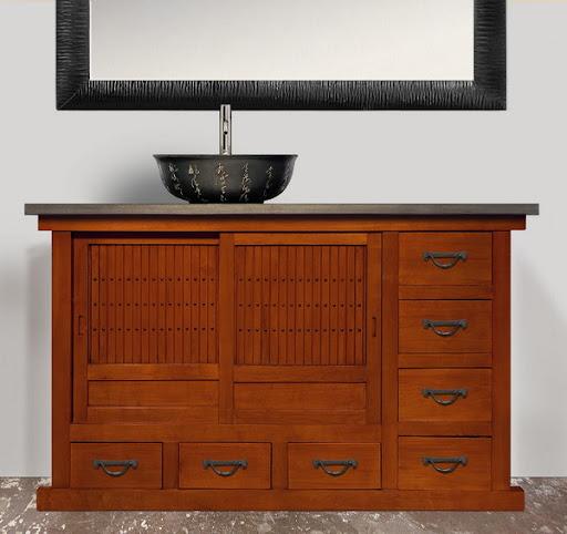 single bathroom brown vanity sink asian furniture