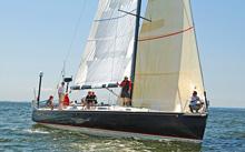 J/145 sailing at start of Vineyard Race