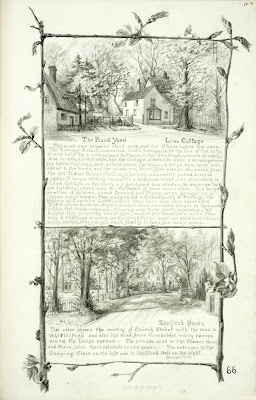 A Record of Shelford Parva by Fanny Wale P66 fo. 68, page 66: A black and white watercolour of The Pound Yard and Lime Cottage with descriptions; below is a picture of Church Street and road to Whittlesford, watercolour [fo.53]