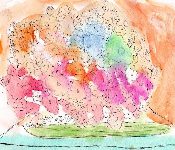Watercolor - flower pot, by Sonya Gonzalez